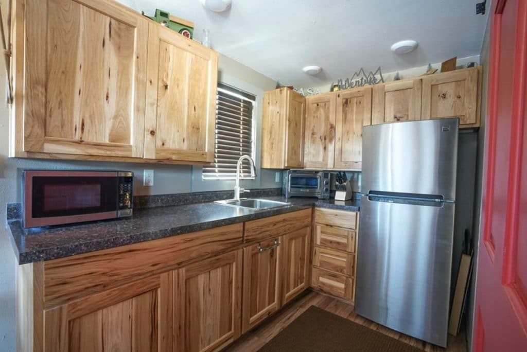 Wood cabinets in tiny house