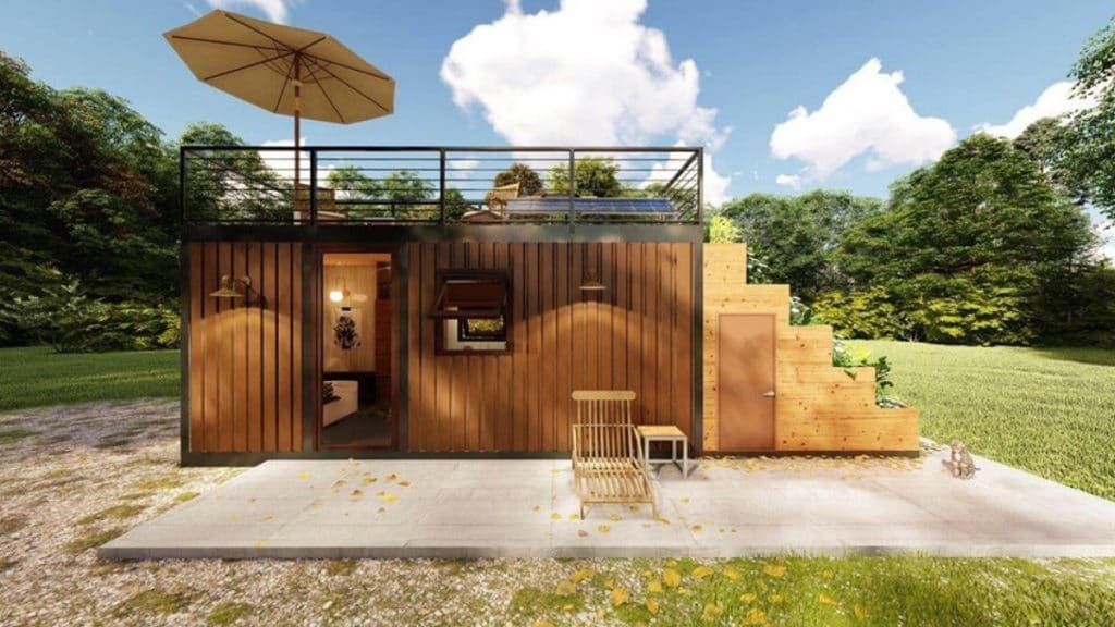 Converted shipping container with garden
