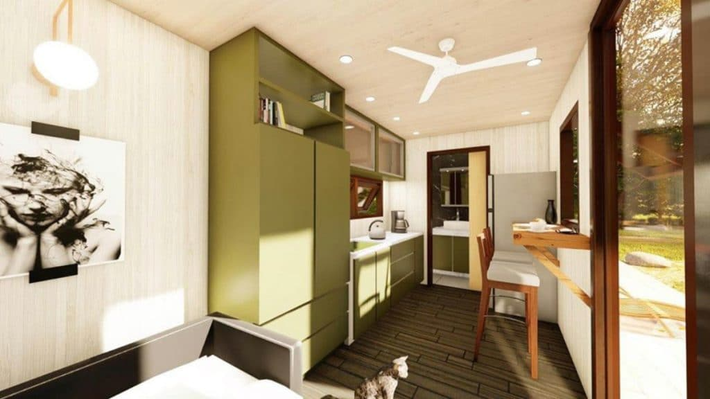 Kitchen in container tiny home