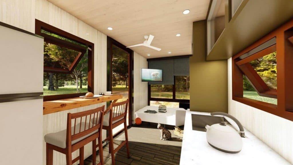 Living area of tiny home