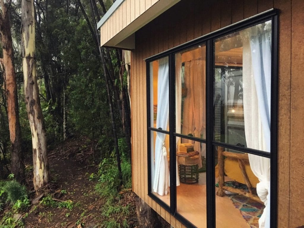 Front window of tiny house outback