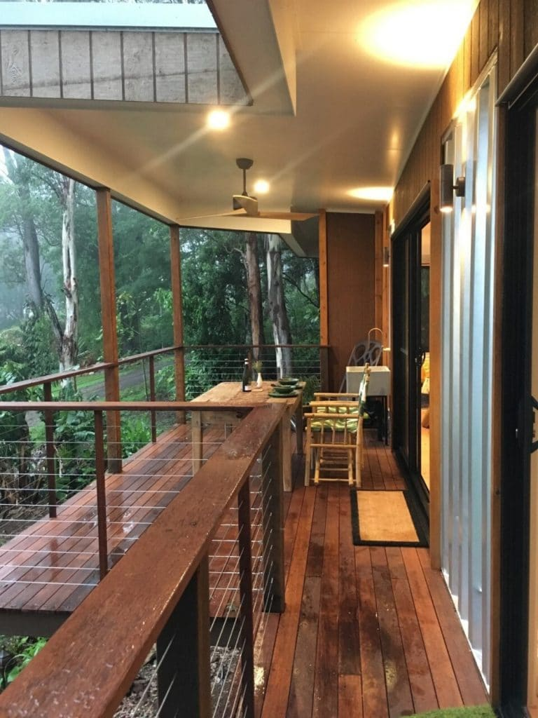 Railing in tiny home at porch