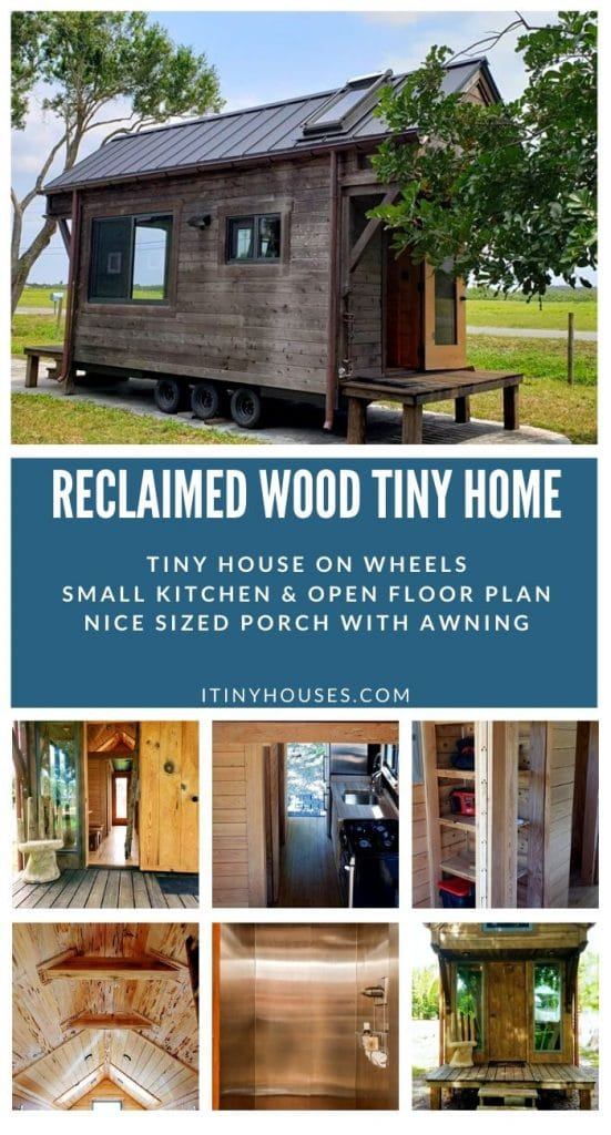 Reclaimed wood tiny house collage
