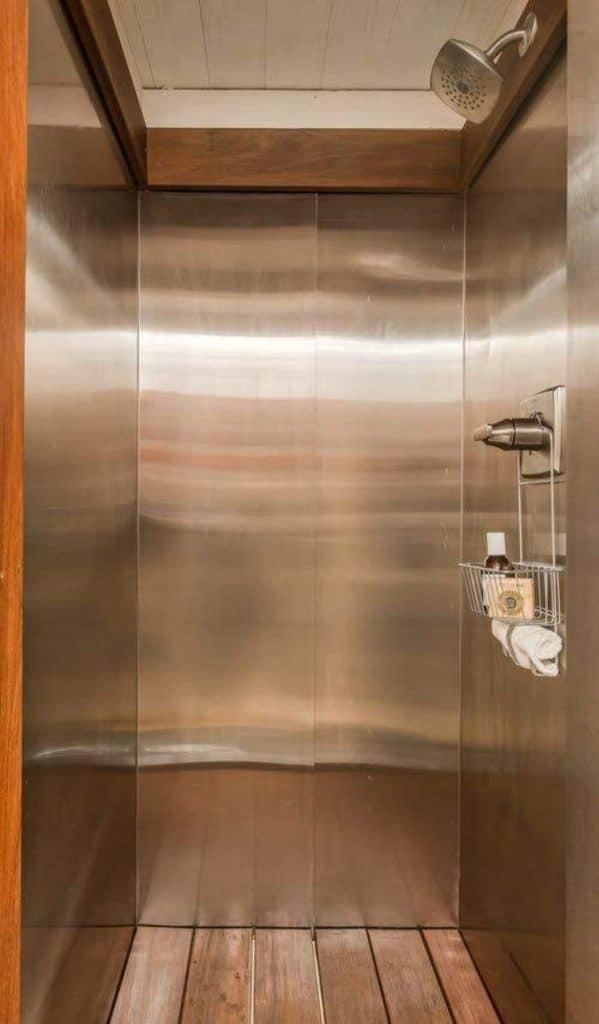 Metal frame shower