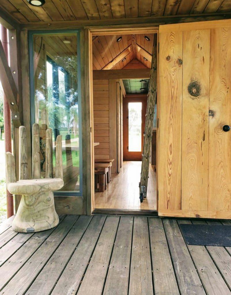 Reclaimed wood tiny house porch