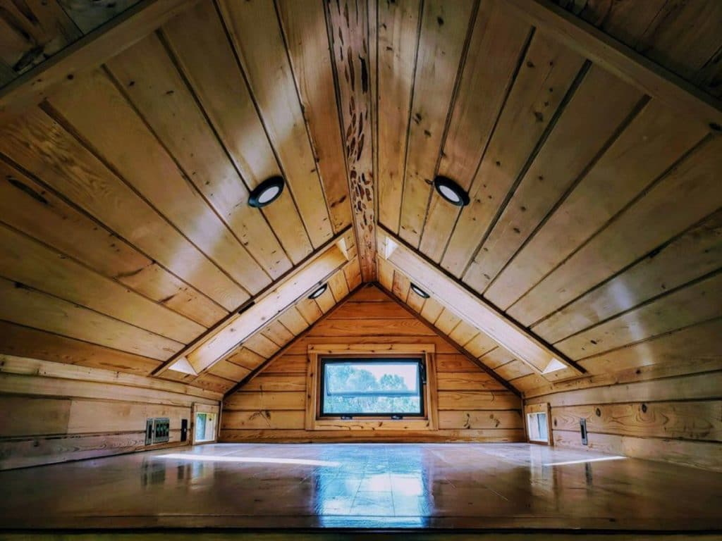 Wood ceiling of tiny home