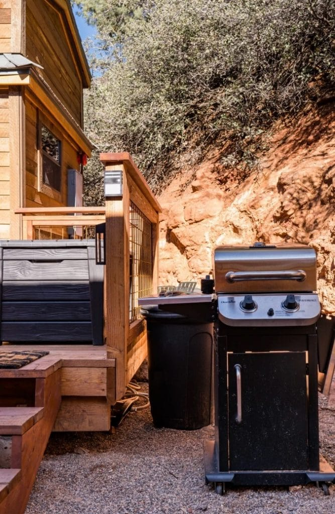 Grill outside the Renew tiny house