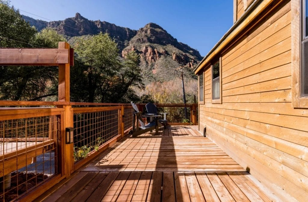 Side porch view of the mountains