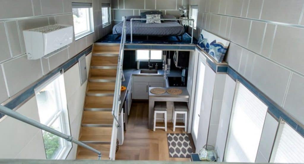 View into living area of tiny home