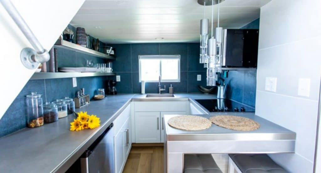 Teal and gray kitchen in the swan