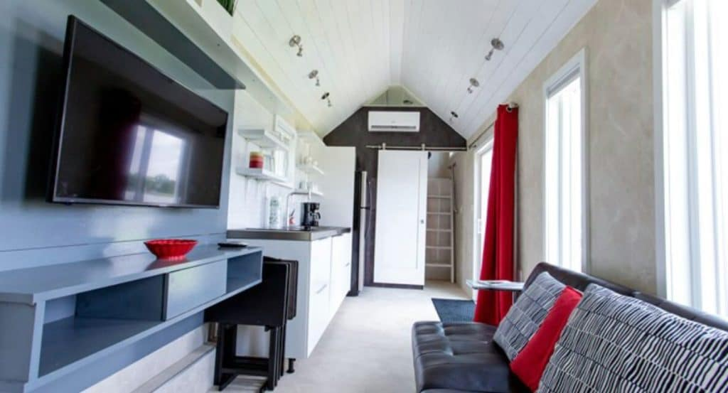 View from kitchen in universal tiny home