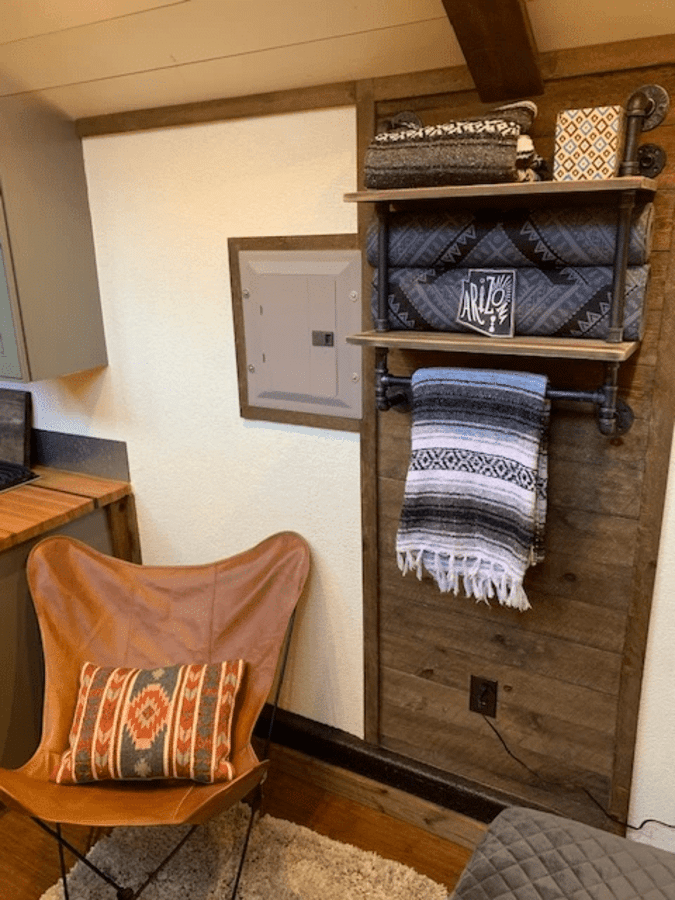 Decorative shelving in Aspire tiny house