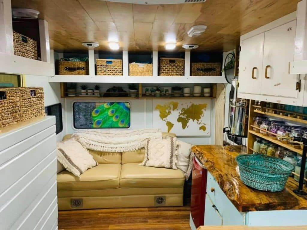 Sofa and reading nook in Bohemian RV