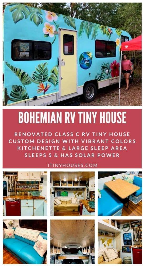 Bohemian RV tiny house collage