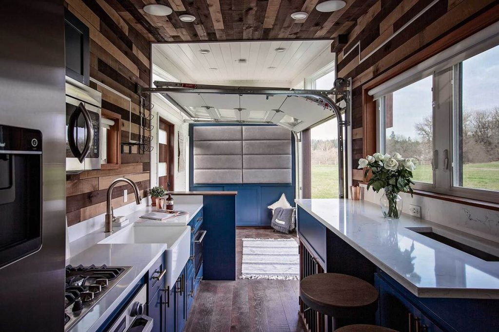 View into living room of breezeway tiny house