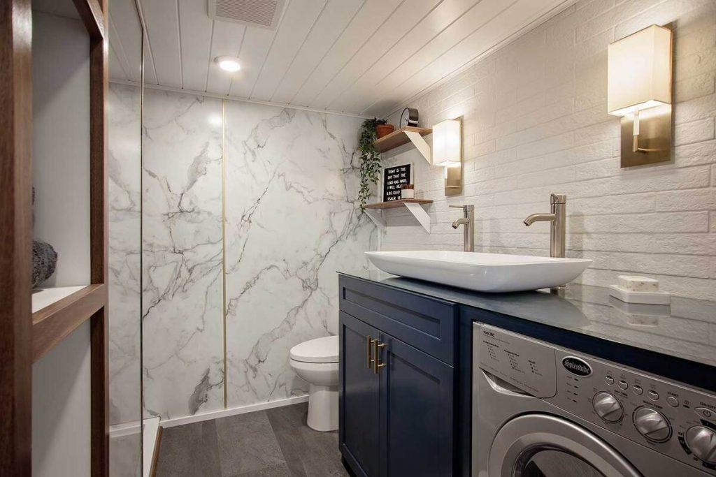 Bathroom sink of breezeway tiny house