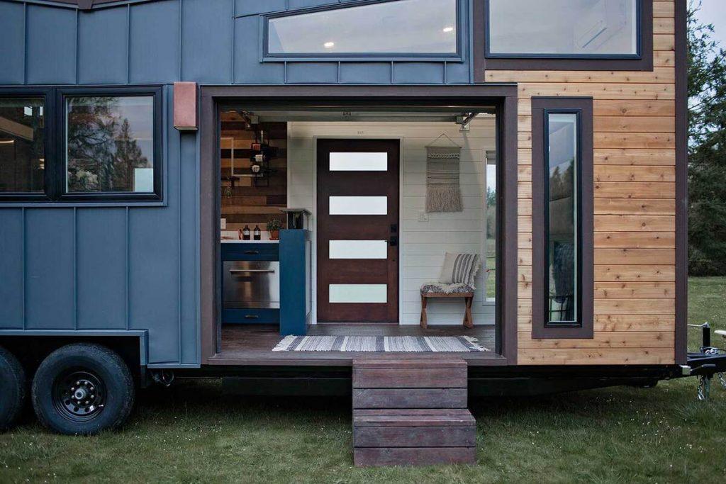 Open garage door in tiny house