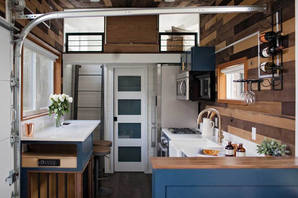 Bathroom door and loft of tiny house