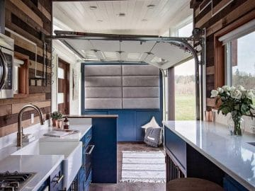 Kitchen in breezeway tiny house