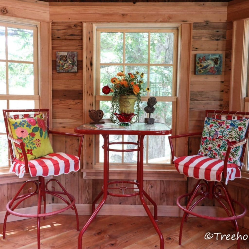 Red and white striped chairs