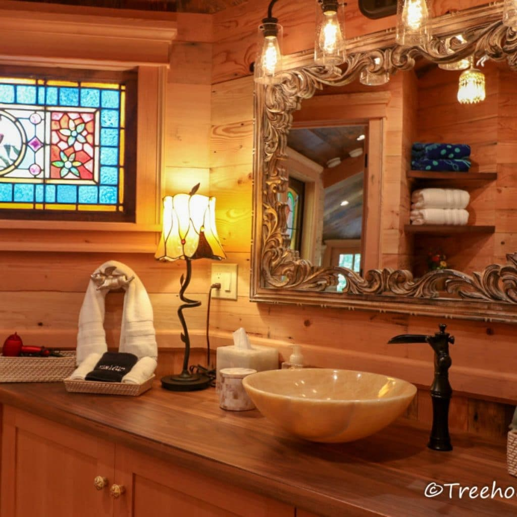 Bathroom counter by stained glass
