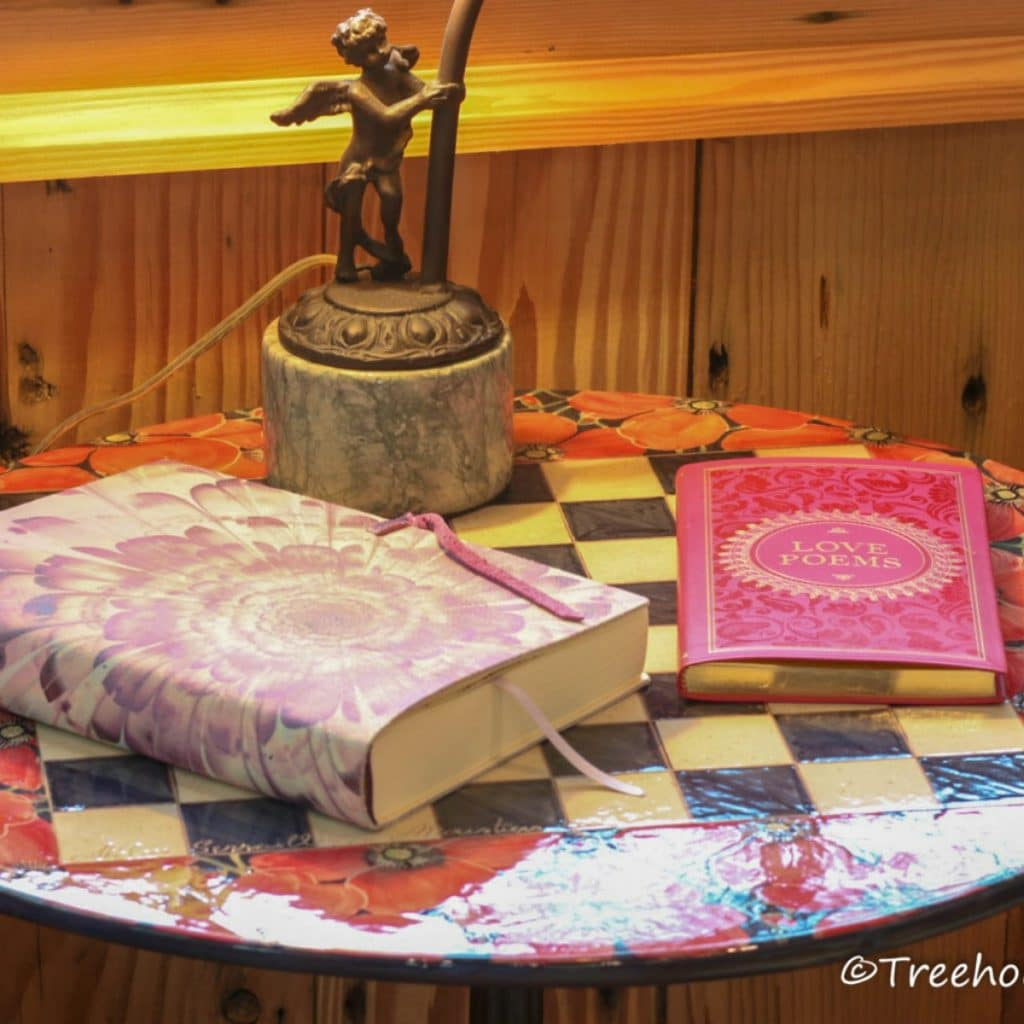 Colorful table with books