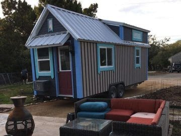 Tiny house with blue trim