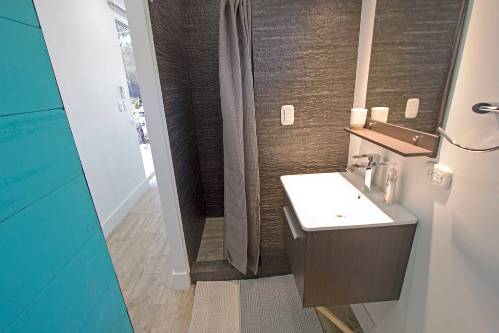 Spa tiny home bathroom