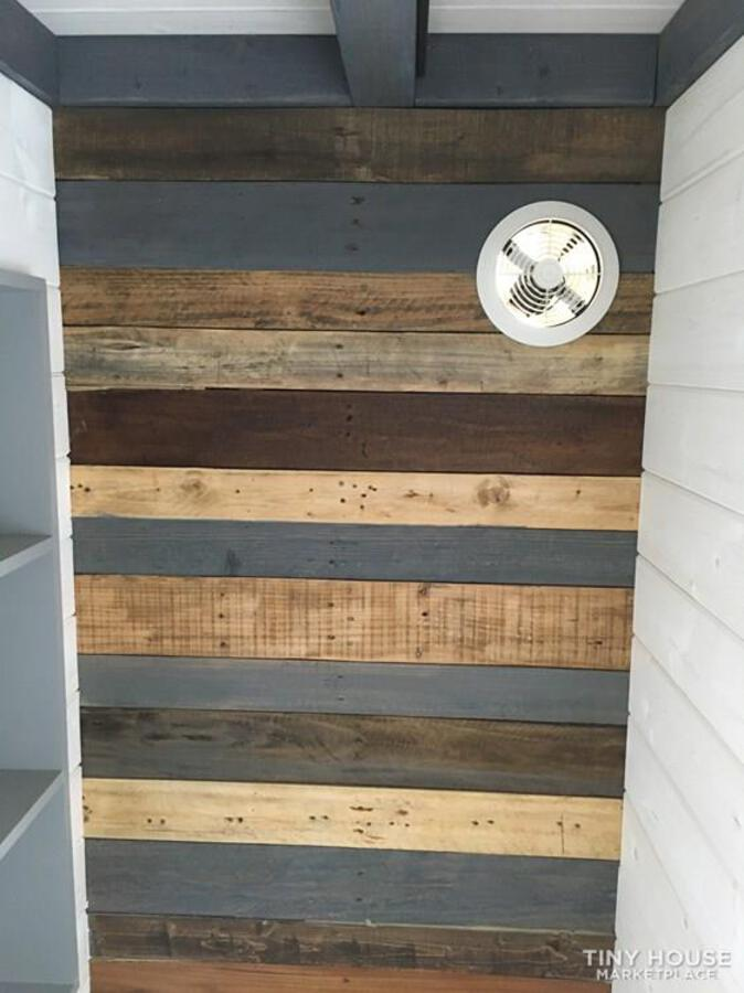 Rustic reclaimed wood wall