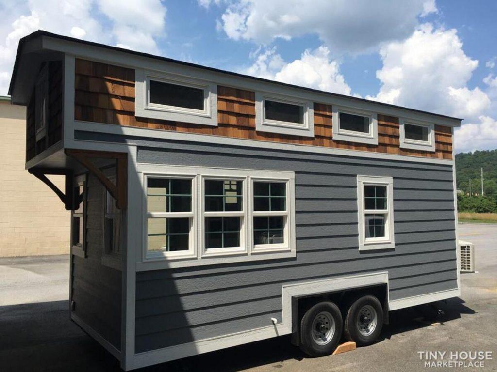 Slate siding tiny house on wheels