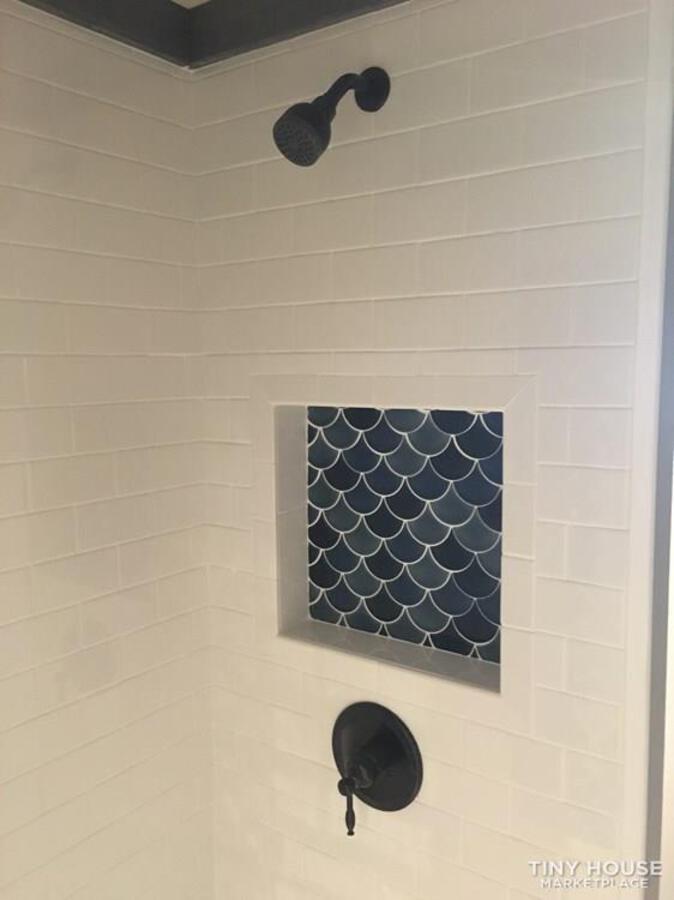 Blue tile in shower