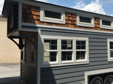 Slate siding tiny house on wheels