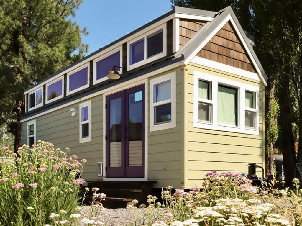 Green and purple tiny home