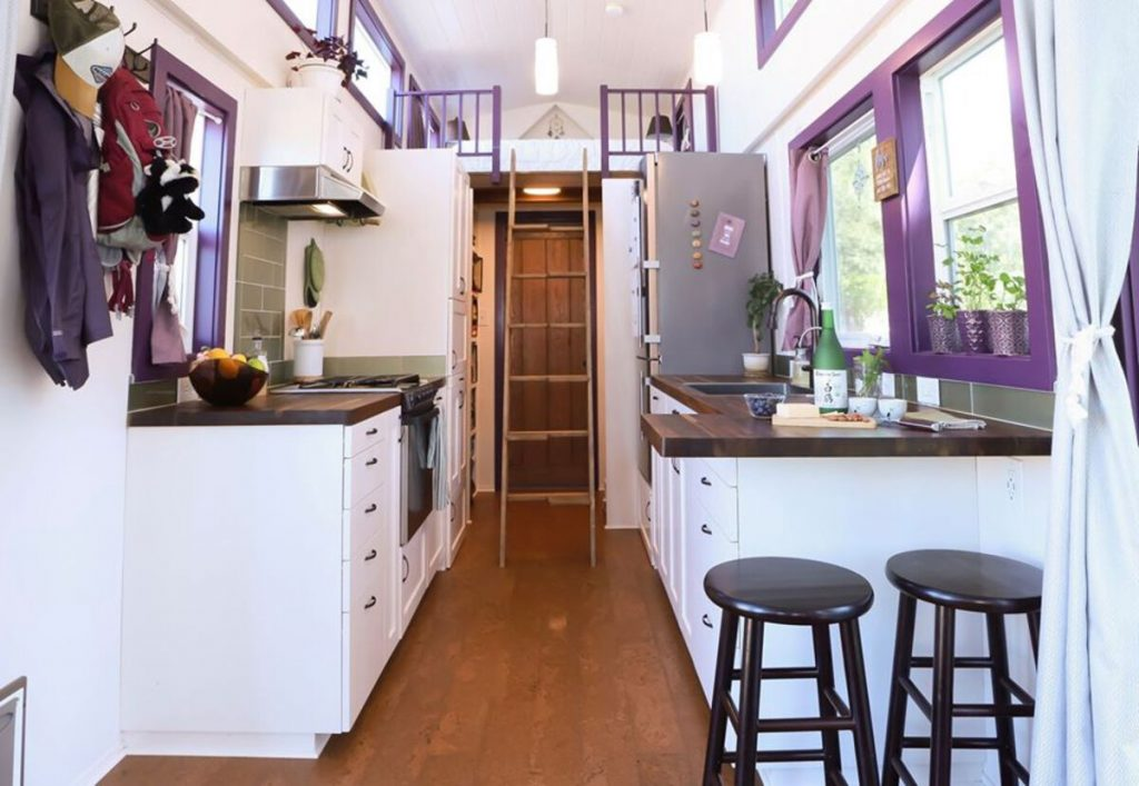 View to loft ladder in tiny house