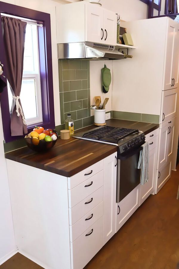 Stove in tiny house kitchen