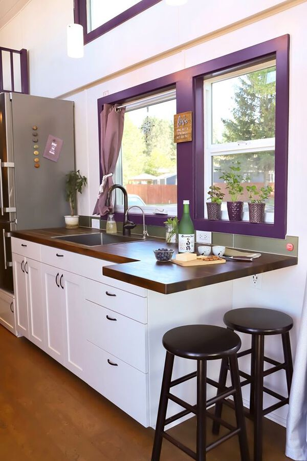 Barstools by kitchen counter