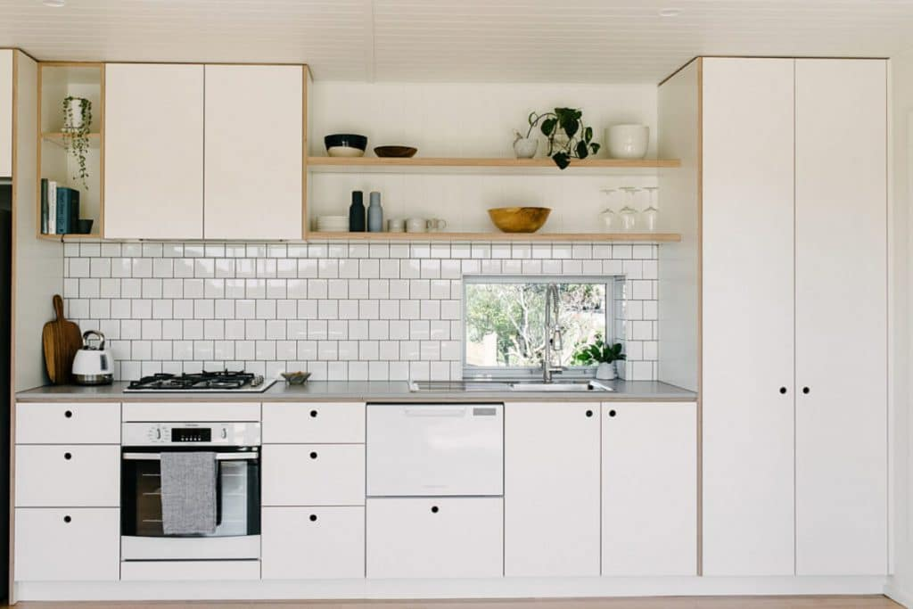 Galley kitchen in shipping container house