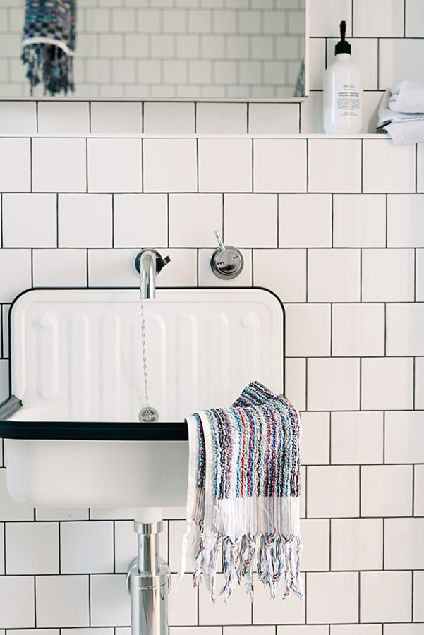 Bathroom sink with towel