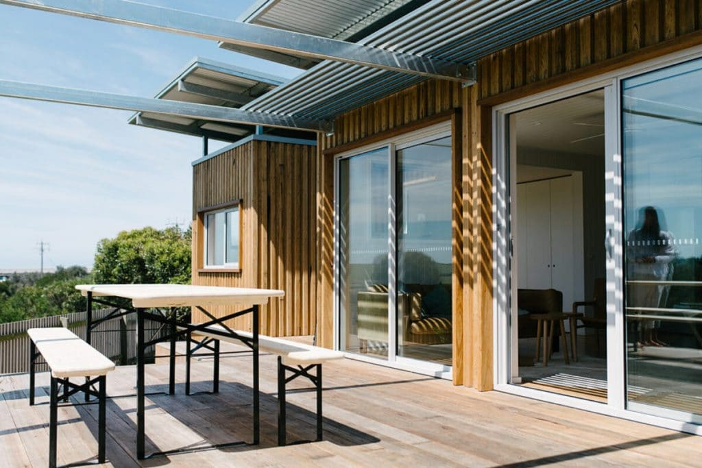 Patio on shipping container home