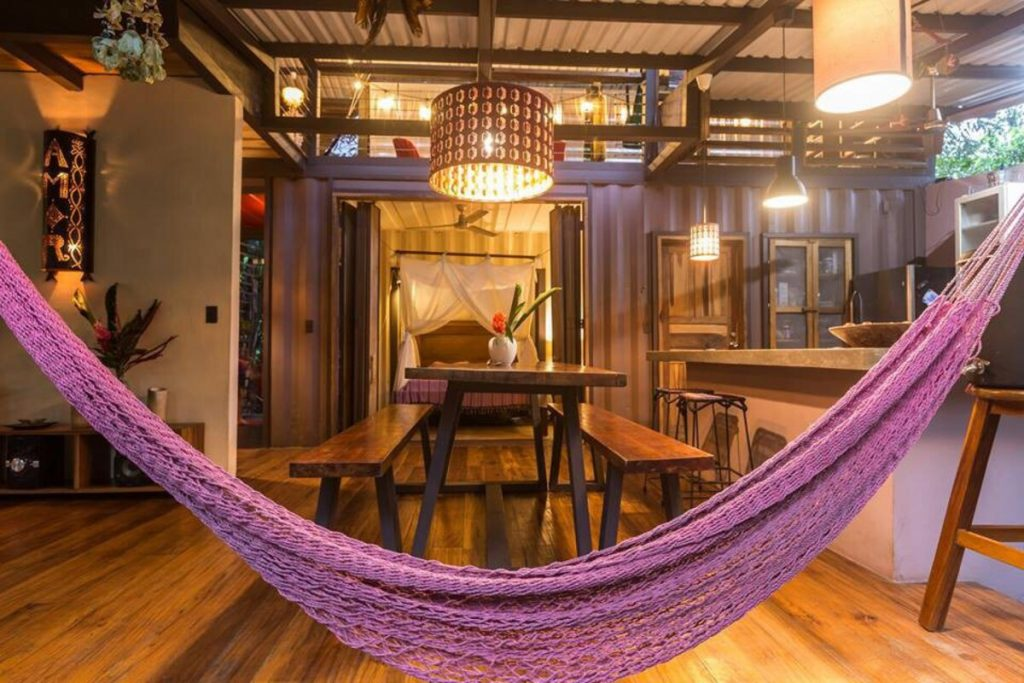 Hammock hanging in front of dining area