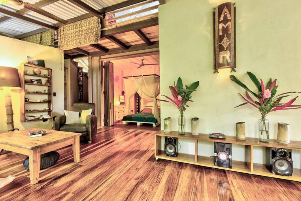 Wood floor with geren wall