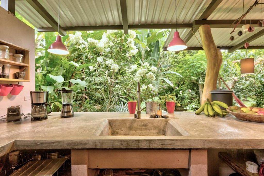 Sink in outdoor kitchen