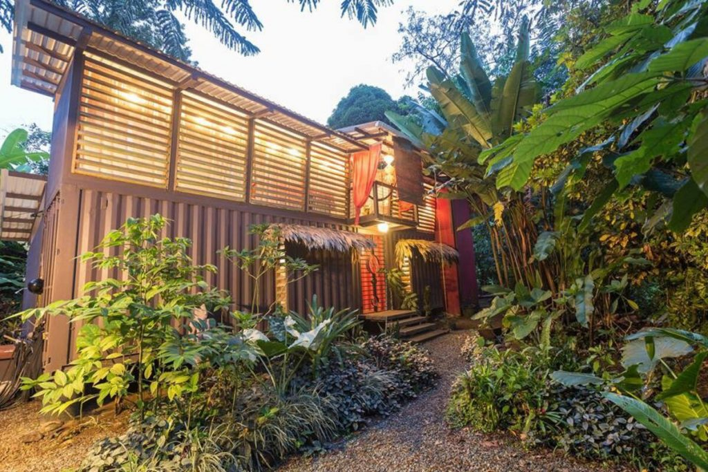 Outside of jungle tiny house