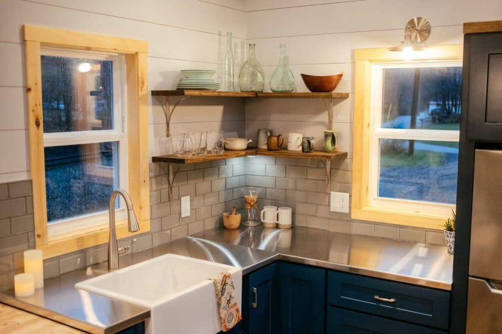 Corner of kitchen with farmhouse sink