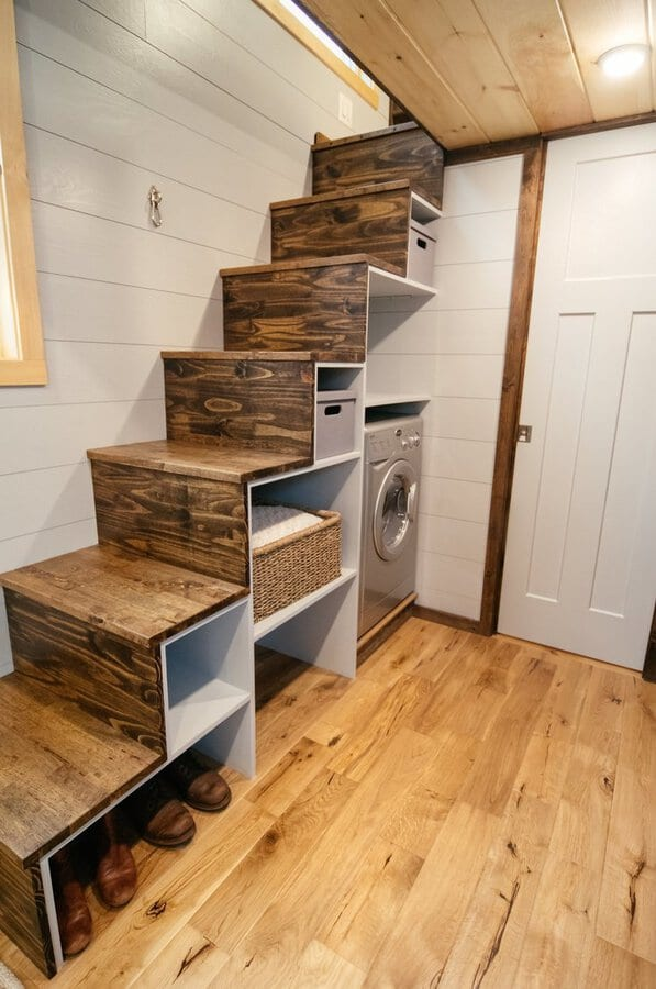 Rustic stairs in lykke tiny house