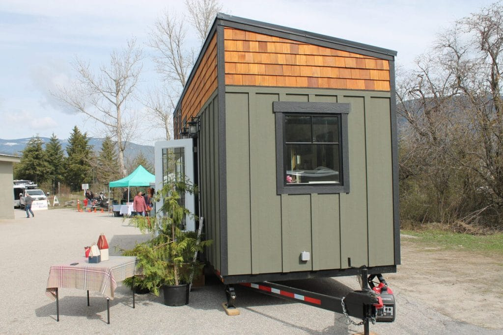 Side of green tiny house