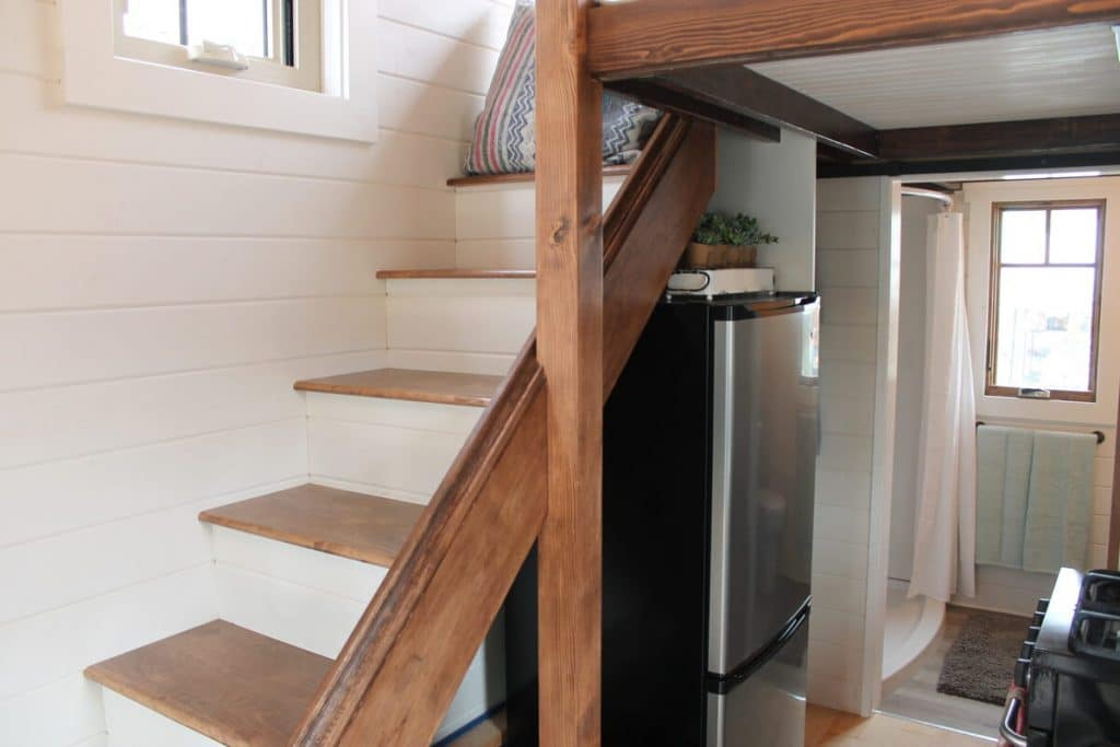 Stairs going to tiny house loft