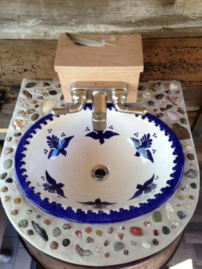 Blue and white decorative sink