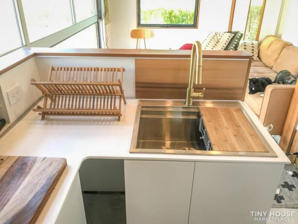 Deep sink in surf shack kitchen