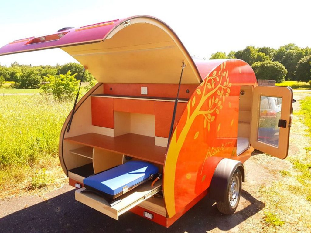 Back of teardrop camper open